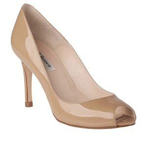 LK Bennett nude patent leather open toe heels 38